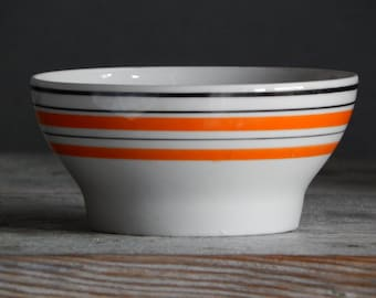Soviet Vintage Sugar Bowl 1970-s / USSR/ Retro Home Decor Hand Painted Red striped Bowl