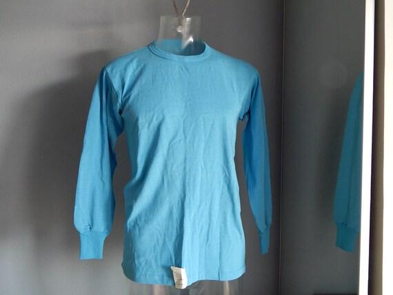 T-Shirt pour homme à manches longues soviétique unisexe bleu Vintage / maillot de corps, n'est pas utilisé, avec l'usine étiquette Made in URSS soviétique de l'Estonie en 1975