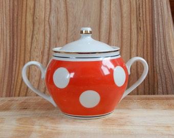 Soviet Vintage Sugar Bowl Red Polka Dot 1970-s / USSR/ Retro Home Decor