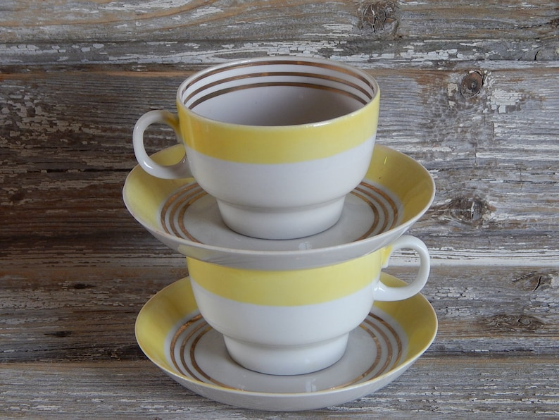 Collectible Soviet Vintage Tableware Russian Coffee or Tea Cup Made in USSR Soviet Cup with Saucer