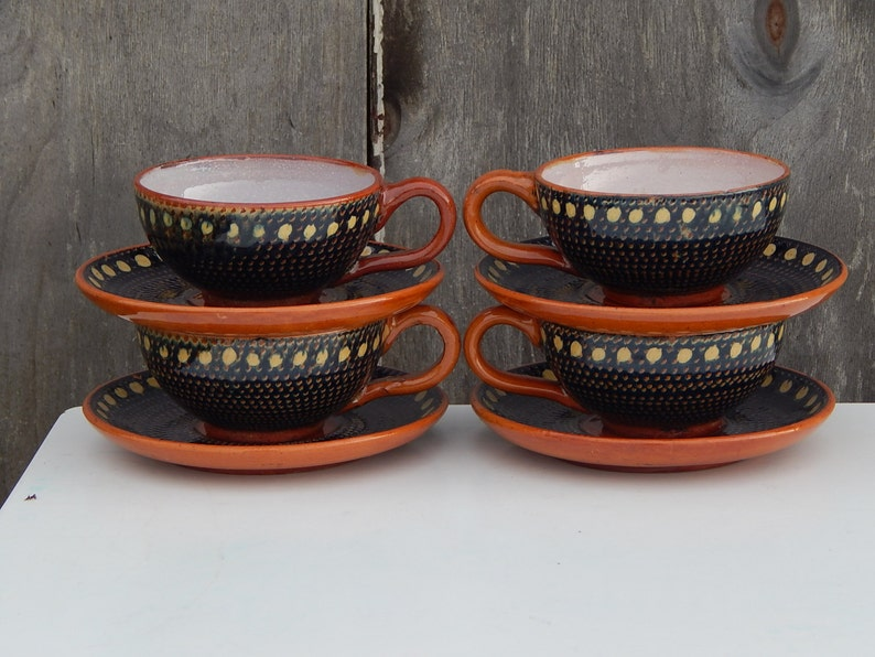 Vintage Coffee/ Tea Cup and Saucer Set Brown Blue Yellow ...