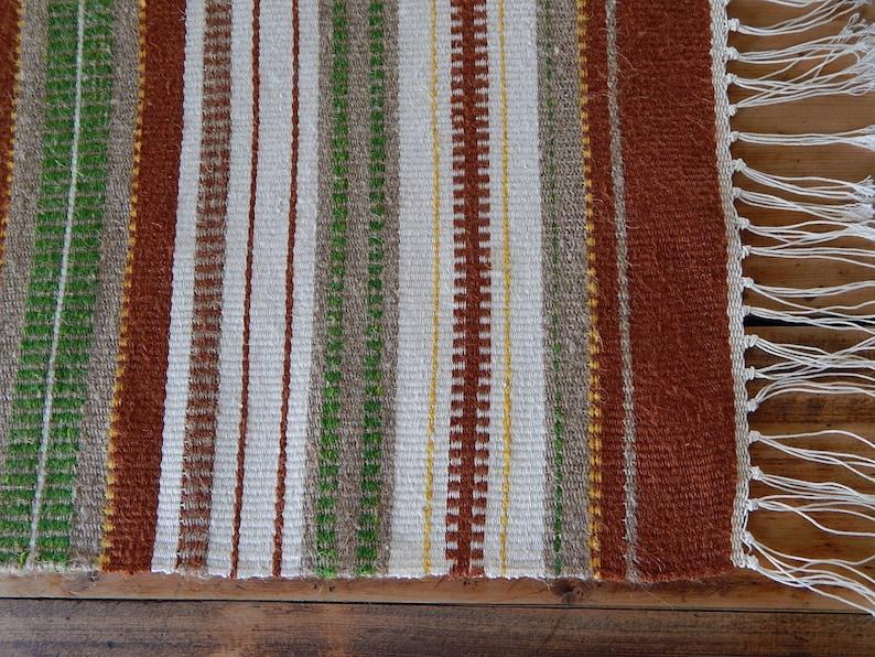 Vintage Wool Cotton Linen Table-runner Tablecloth Striped Retro Home Decor Vintage Decor 1970 s Scandinavian design