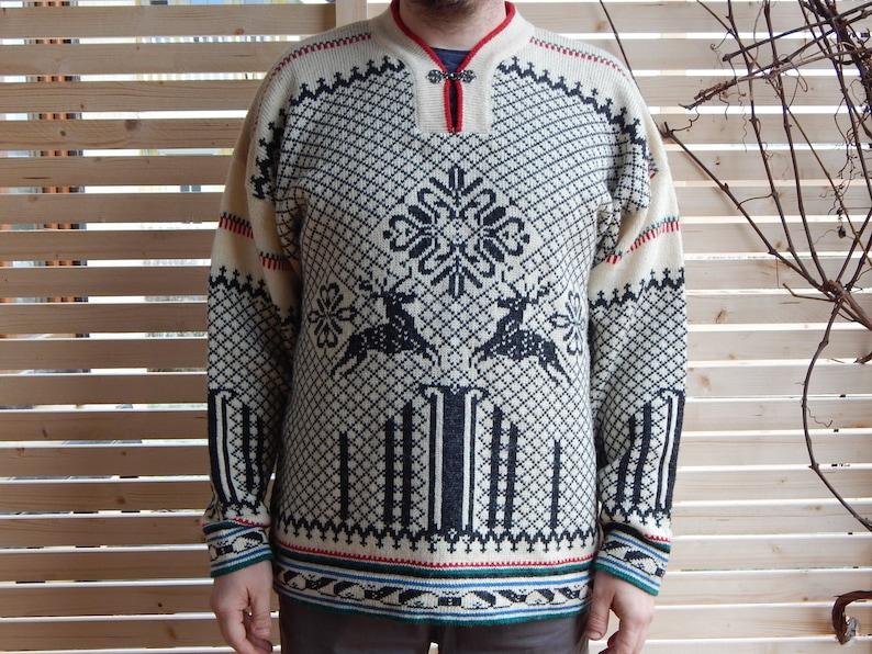 e19bba766a Vintage Norwegian Men Sweater Knitwear Warm Winter Wool Wear