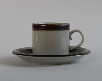 Arabia of Finland Karelia Coffee Cup and Saucer Ceramic 1970 s Design Anja Jaatinen Winquist