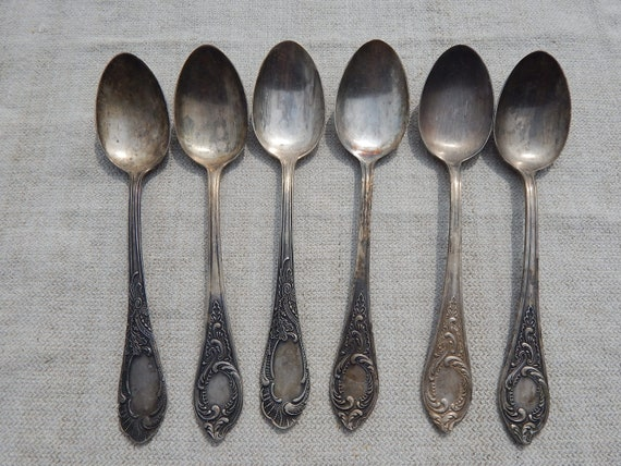 Soviet Vintage Aluminium Tea Spoon Set of 7 Russian Home Soviet Tableware Made in USSR Kitchenware 1960 s.
