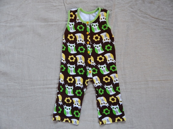 Vintage Baby Suit Cotton Terry Forest Jumpsuit One