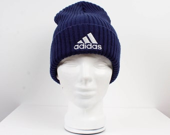 926e51ba046 ADIDAS Vintage Knitted Navy Blue White Hat Winter Ski Suit Hipster Style Hat  Sports Athletic 80  style One Size