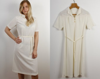 23c4082bd3 Bridesmaid Vintage Dress / Knee Lenght Summer Business Short Sleeve Dress  Handmade Vintage Dress 80s Style Belt Dress City Style Women Dress