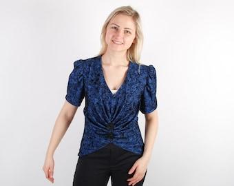Dark Blue Black Women Top Floral Patterned Blouse Corset Blouse Puffy Shoulders
