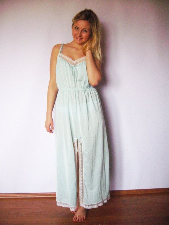 Vintage Mint Night Dress Lingerie 60s Style Extra Long Dress Etsy