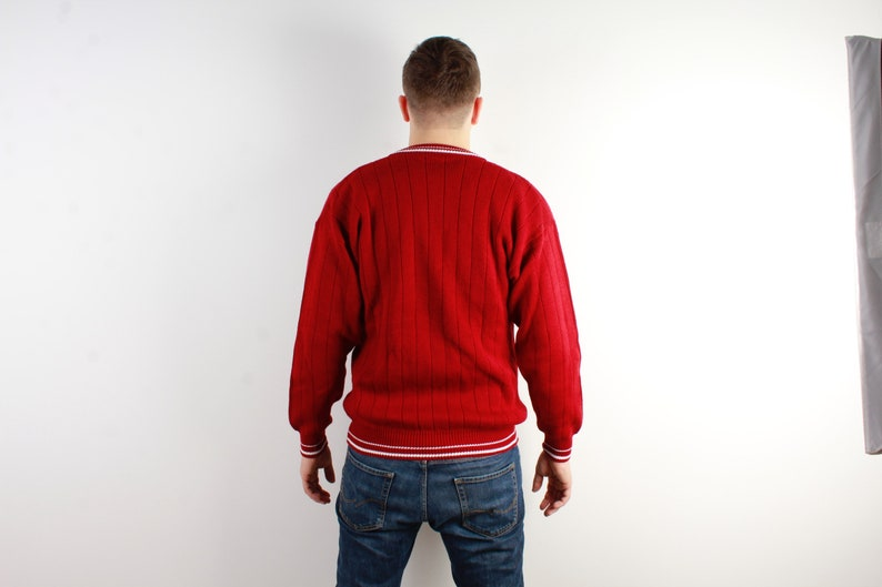 Red Knitted Men Sweater Knitted Jumper White Line Stripped Sweater Winter Vintage Long Sleeve Sweater Size Large