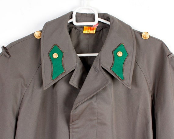 Dark Grey Trenchcoat Mens Long Military Style Rai… - image 2