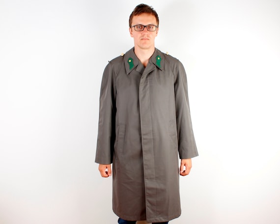 Dark Grey Trenchcoat Mens Long Military Style Rai… - image 4