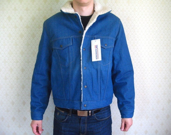 Vintage Denim Jacket / Winter Men Jacket / Shearli