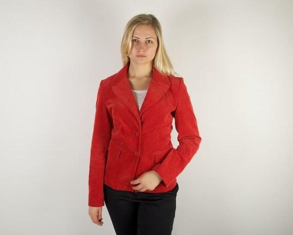 Red Velvet Corduroy Jacket Business Suit Jacket Wo