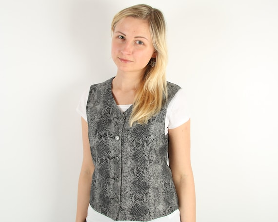 Gray Vintage Womans Vest Business Suit Hipster Sty