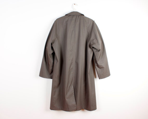 Dark Grey Trenchcoat Mens Long Military Style Rai… - image 3