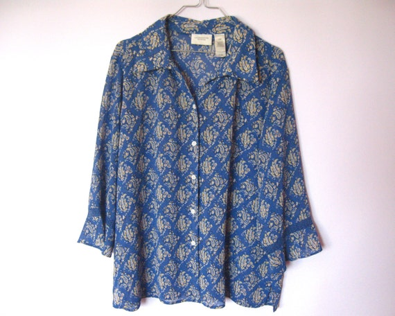Blue Yellow Vintage Womens Blouse Flowery Hawaii B