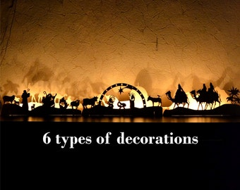 Nativity scene set Christmas decorations for home Christmas lights Mantle garland Christmas Village Fireplace decor Christmas Ornament