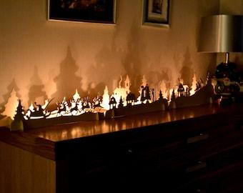 Christmas Mantle Decorations Fireplace decor Christmas light Nativity set Ornaments Window Decor Wooden candlestick Nutcracker