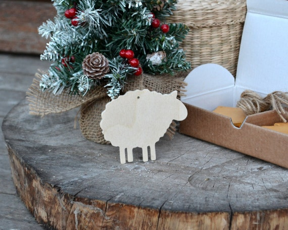 Christmas ornaments Wooden sheep set of 10 pieces Christmas decor natural  wood unpainted Wooden supplies - Christmas Ornaments Wooden Sheep Set Of 10 Pieces Christmas Etsy