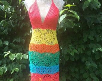Crochet Maxi dress / Beach dress size M