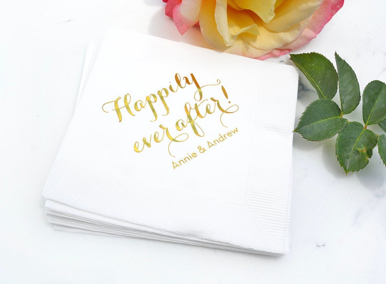 Custom Wedding Napkins  Real Foil  For weddings corporate image 0