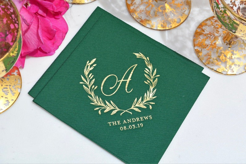 Custom Wedding Napkins  Real Foil  Wreath Monogram  For image 0