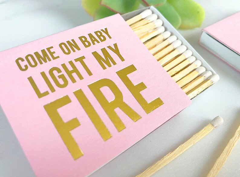 Custom Wedding Matchboxes  Come On Baby Light My image 0