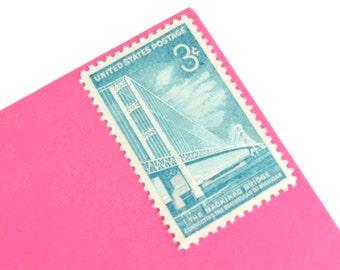 25 Michigan Mackinac Bridge Stamps - 3c - Unused Vintage Postage from 1958 - Quantity of 25
