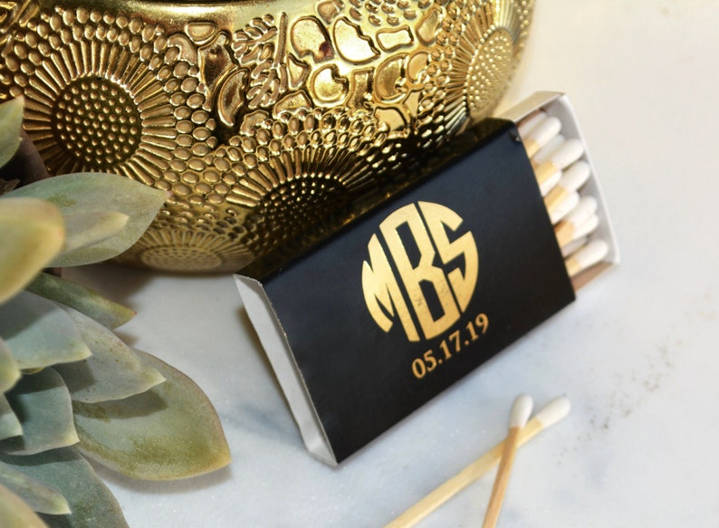 Custom Monogram Matchboxes  Real Foil Stamping  For image 0