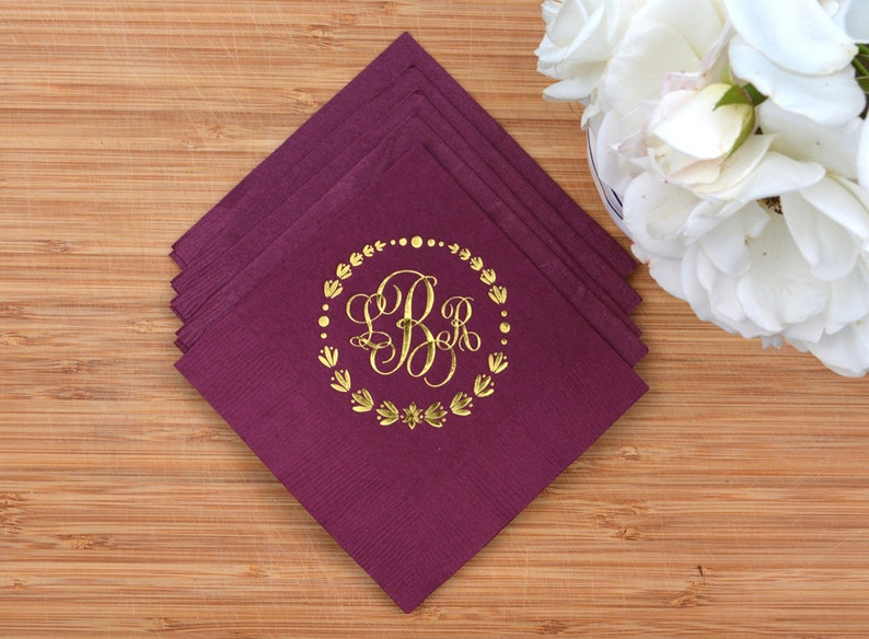 Custom Wedding Napkins  Real Foil  Monogram  Initials  For image 0