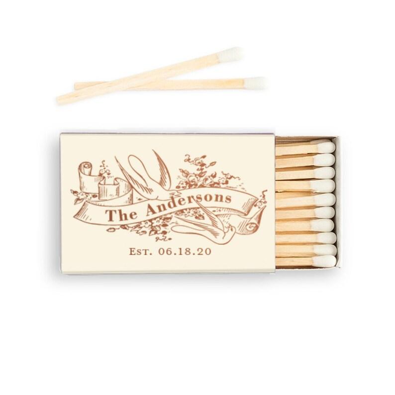 Custom Vintage Birds & Ribbon Matchboxes  Real Foil Stamping image 0