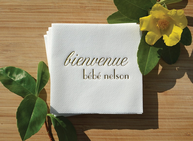 Custom Baby Shower Napkins  Real Gold Foil  For weddings image 0