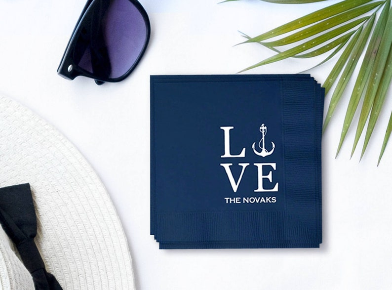 Custom Nautical LOVE Napkins  Real Foil Stamp  Beach  Boat image 0