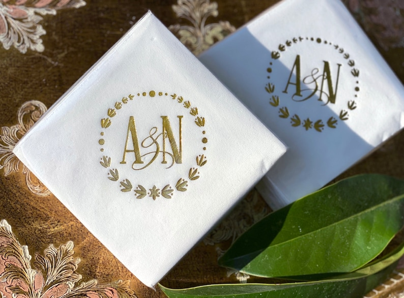 Custom Napkins  Real Foil  Monogram  Initials  For image 0