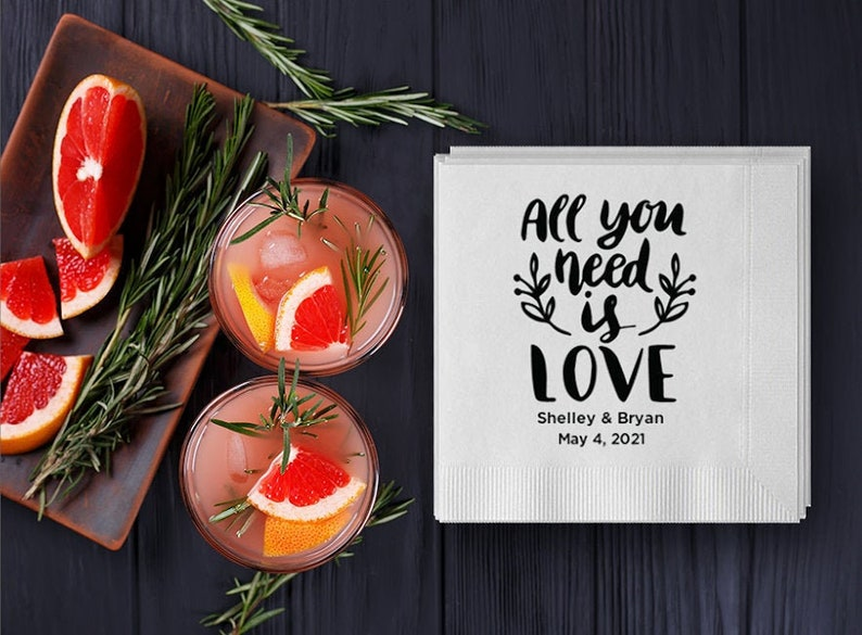 Custom Wedding Napkins  Real Foil  All You Need is Love  image 0
