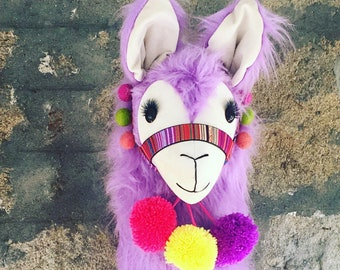 Lilac Super fluffy LLAMA wall mount ... Faux taxidermy