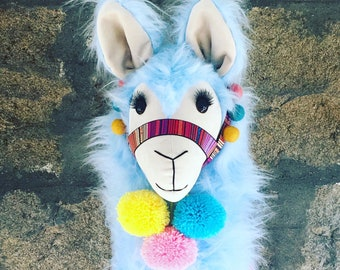 Baby Blue super fluffy LLAMA wall mount ... Faux Taxidermy