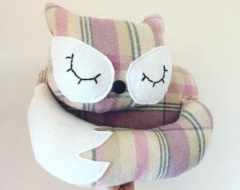 Pink Tweed Sleepy Fox Cushion