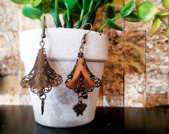 Orange Flower Earrings, Handmade Vintage Earrings, Boho Earrings, Colorfull earrings, Brass Earrings jewelry, Drop Earrings, Gift for her