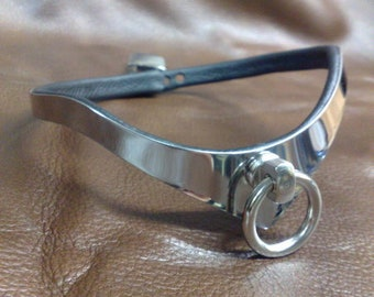 exclusive BDSM stainless steel collar choker necklace ring of O neckband Sub lockable slim elegant custom made engravable individually