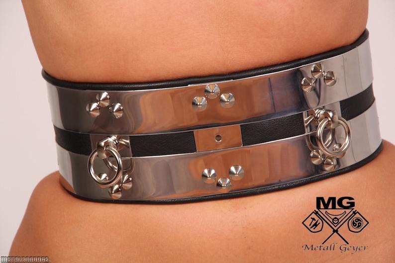 9b8fed7bf78 Waist shackle O Ring Belt stainless steel BDSM waist cincher