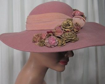 62957605672 Whittall Shon Wide Brim Hat Dusty Pink Wool Felt Roses Easter Derby Church