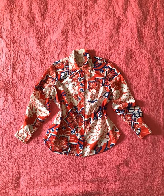 Vintage 70s Bold Floral Mod Shirt/Mod Shirt/Red Wh