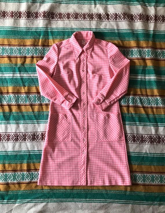 Vintage Gingham Shift Dress/Pink Gingham Dress/Vi… - image 2
