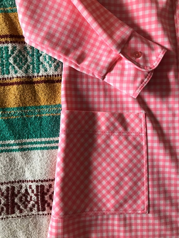 Vintage Gingham Shift Dress/Pink Gingham Dress/Vin