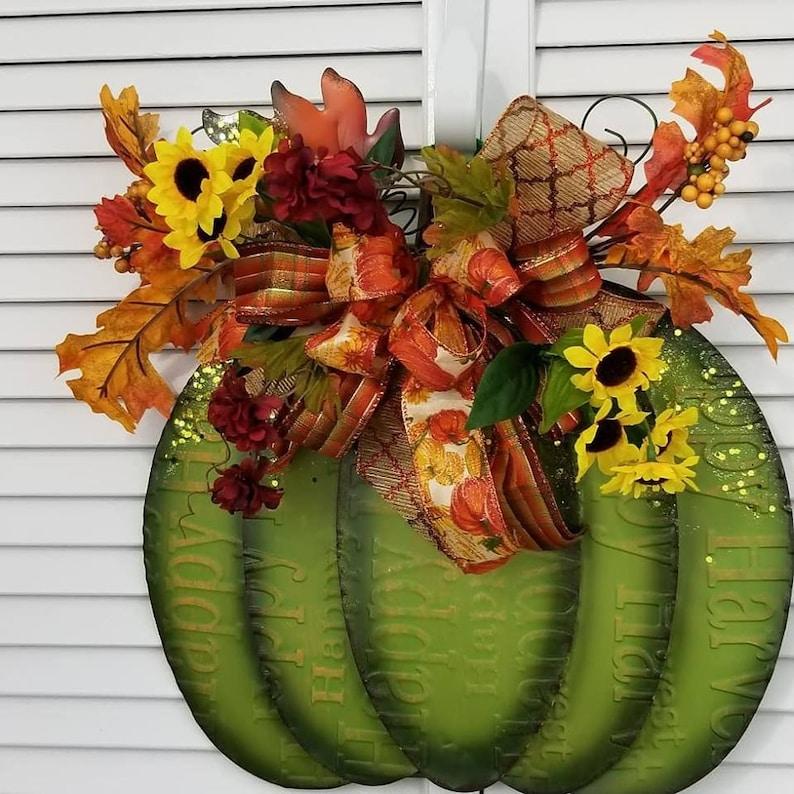 Green Pumpkin tabletop display Thanksgiving Green Pumpkin  Wall hanging Autumn Decor Autumn Fall Wreath Fall Decor Wall Decor