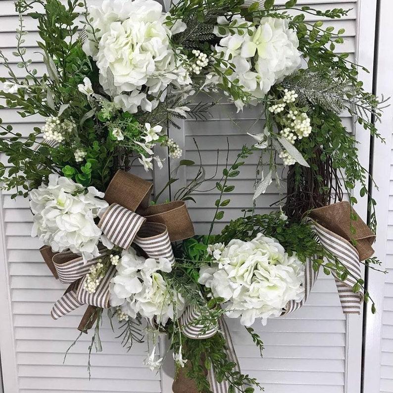 Country Style Wreath Spring Wreath White Hydrangea Wreath Front Door Wreath, Wedding Wreath Everyday Wreath Grapevine Wreath