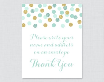 """Mint Address an Envelope Sign - Printable Download - Mint and Gold Glitter """"Please Write Your Name and Address on an Envelope"""" Sign - 0008-m"""